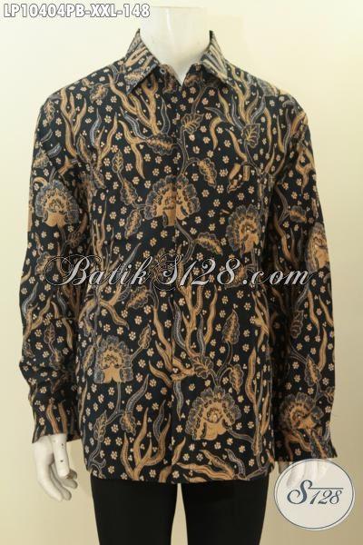 Hem Batik Solo Jawa Tengah, Pakaian Batik Lengan Panjang Ukuran XXL, Produk Baju Batik Solo Kwalitas Bagus Bikin Lelaki Gemuk Tampil Berwibawa