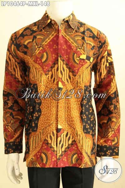 Model Baju Batik Atasan Pria Lengan Panjang Nan Elegan, Busana Kemeja Berkelas Motif Mewah Proses Printing Hanya 148K, Size M