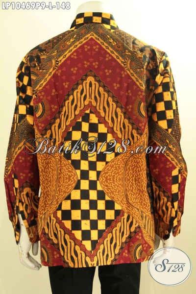 Batik Kemeja Pria Lengan Panjang Istimewa Proses Printing, Hem Batik Solo Halus Motif Klasik Yang Bikin Penampilan Berwibawa, Size L