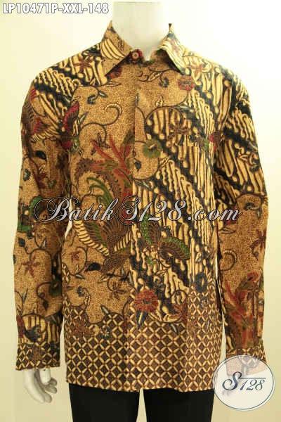 Jual Baju Batik Elegan Lengan Panjang, Hem Batik Klasik Solo Printing Menunjang Penampilan Pria Gemuk Mempesona, Size XXL