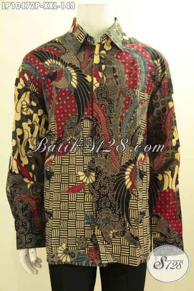 Jual Pakaian Batik Solo Elegan Lengan Panjang, Busana Batik Solo Halus Istimewa Motif Klasik Printing, Penampilan Cowok Gemuk Lebih Berkelas, Size XXL