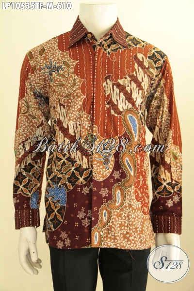 Hem Batik Kerja Elegan Mewah Khas Pejabat, Baju Batik Lengan Panjang Motif Klasik Full Furing Tulis Tangan Asli Harga 610K, Size M