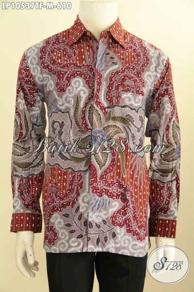 Baju Batik Premium Lengan Panjang, Kemeja Batik Mewah Warna Merah Motif Bagus Full Furing, Bikin Penampilan Lebih Berwibawa, Size M
