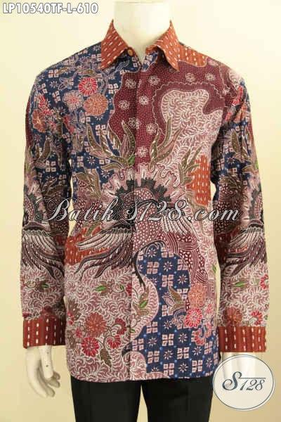Baju Batik Solo Lengan Panjang Elegan, Hem Batik Mewah Motif Klasik Tulis Asli Full Furing, Penampilan Gagah Berwibawa, Size L