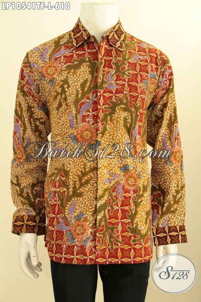 Kemeja Batik Mewah Pria Sukses, Busana Batik Dengan Motif Berkelas Bahan Adem Proses Tulis Asli, Pakaian Batik Kerja Untuk Penampilan Lebih Sempurna, Size L