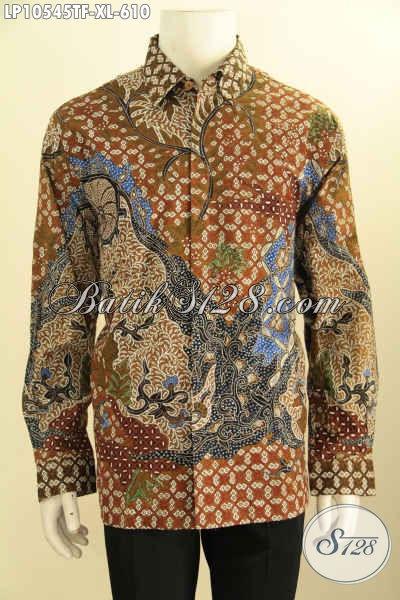 Batik Hem Mewah Pria Kantoran, Busana Batik Elegan Istimewa Lengan Panjang Full Furing Motif Klasik Tulis Asli, Penampilan Lebih Berwibawa, Size XL
