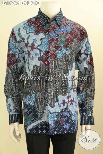 Batik Kemeja Lengan Panjang Formal Elegan Dan Mewah, Pakaian Batik Solo Halus Motif Klasik Tulis Bikin Pria Terlihat Gagah Mempesona [LP10546TF-XL]