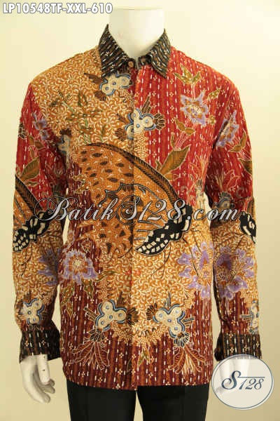 Busana Batik Jumbo Desain Khas Pejabat, Pakaian Batik Premium Full Furing Lengan Panjang Motif Klasik Tulis Asli Hanya 610K, Size XXL