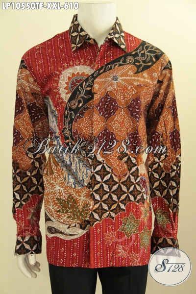 Pakaian Batik Pria Mewah Lengan Panjang Full Furing Bahan Adem Proses Tulis, Busana Batik Berkelas Dan Mewah Tampil Istimewa Bak Pejabat, Size XXL
