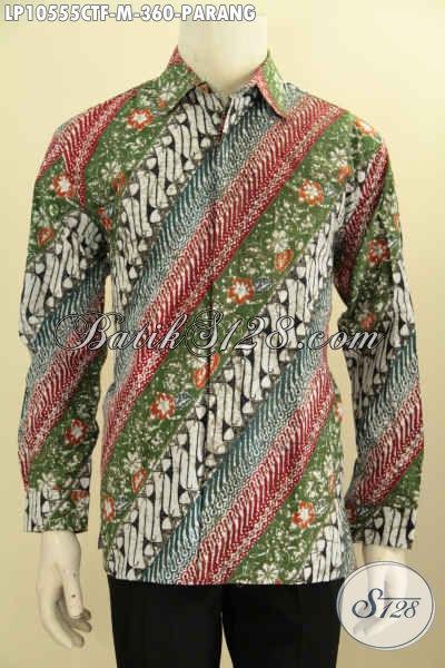 Batik Baju Kerja Lengan Panjang Motif Parang, Kemeja Batik Solo Halus Full Furing Proses Cap Tulis, Tampil Elegan Berkelas Tiap Hari [LP10555CTF-M]