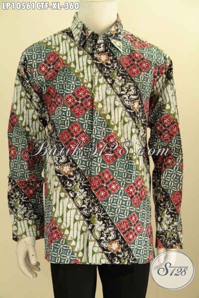 Sedia Kemeja Batik Solo Kwalitas Bagus, Batik Hem Cap Tulis Lengan Panjang Full Furing Bahan Adem Nyaman Untuk Kerja Kantoran, Size XL