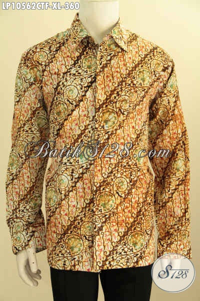 Model Baju Batik Atasan Pria Lengan Panjang, Batik Hem Berkelas Proses Cap Tulis Full Furing Yang Bikin Penampilan Gagah Menawan, Size XL