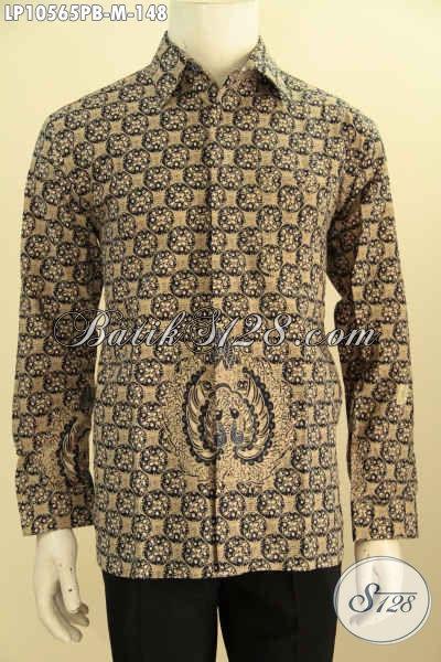Jual Baju Batik Elegan Lengan Panjang Proses Printing Cabut, Pakaian Batik Resmi Nan Berkelas Untuk Penampilan Mempesona, Size M