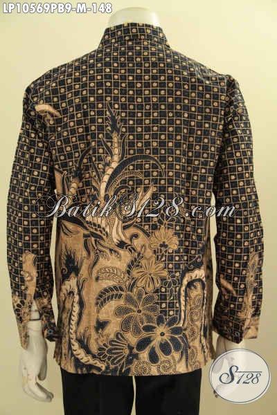Pusat Baju Batik ELegan Online, Sedia Kemeja Lengan Panjang Motif Klasik Solo Jawa Tengah Halus Proses Printing Hanya 148K [LP10569PB-M]