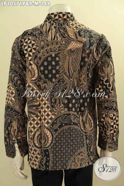Jual Produk Pakaian Batik Pria Terbaru Lengan Panjang Motif Klasik, Busana Batik Hem Printing Cabut, Cocok Untuk Rapat Dan Kondangan [LP10571PB-M]