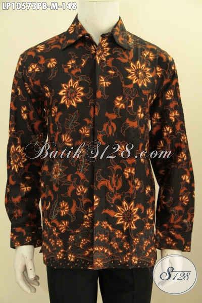 Batik Hem Kerja Motif Klasik Lengan Panjang, Busana Batik Halus Bahan Adem Proses Printing Cabut, Pas Buat Acara Resmi Dan Kondangan, Size M