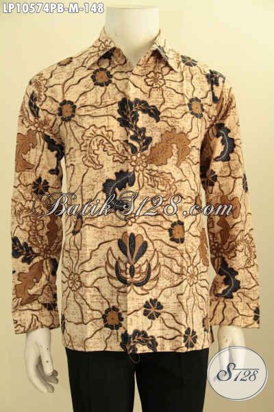 Busana Batik Printing Cabut Nan Elegan, Pakaian Batik Pria Muda Lengan Panjang Bahan Adem Kwalitas Istimewa Harga 100 Ribuan, Size M