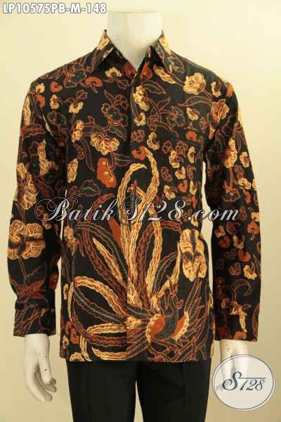 Model Baju Batik Pria Muda Yang Bikin Penampilan Mempesona, Busana Batik Solo Halus Proses Printing Tren Motif 2018 Harga 148K [LP10575PB-M]