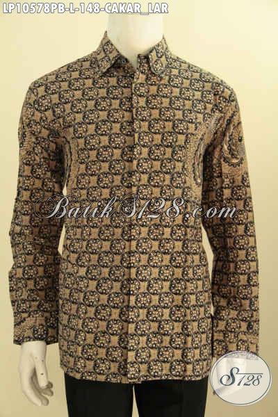 Model Baju Batik Pria Lengan Panjang, Hem Batik Printing Cabut Halus Motif Cakar Lar, Pilihan Tepat Tampil Berwibawa, Size L