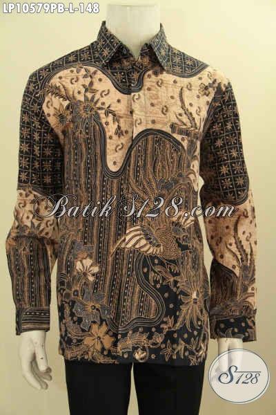 Batik Hem Lengan Panjang Motif Klasik Nan Elegan, Seragam Batik Pria Kantoran Bahan Adem Proses Printing Cabut Size L Harga 148K