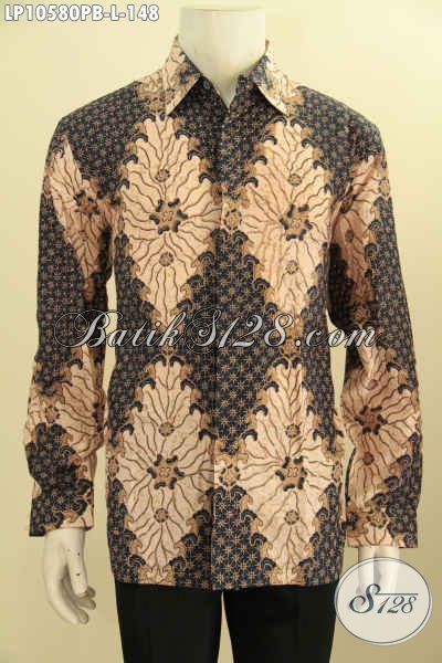 Sedia Pakaian Batik Solo Elegan Lengan Panjang Motif Klasik Terkini Halus Proses Printing Cabut, Menunjang Penampilan Makin Berkelas [LP10580PB-L]