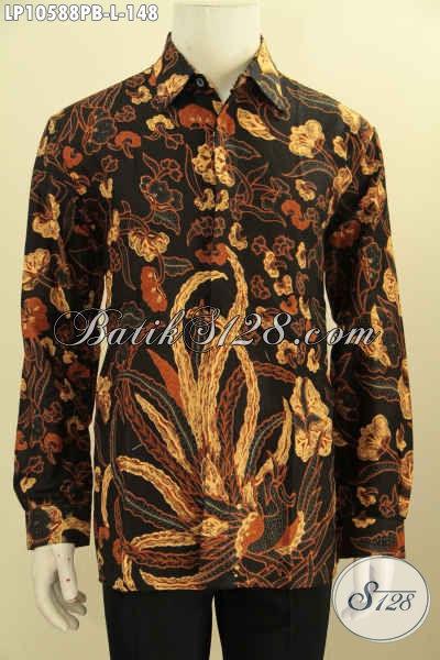 Model Hem Batik Lengan Panjang ELegan Berkelas, Busana Batik Halus Bahan Adem Proses Printing, Pas Banget Untuk Kerja, Size L