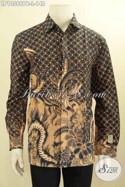 Kemeja Batik Berkelas, Hem Batik Halus Motif Klasik Lengan Panjag Yang Membuat Lelaki Terlihat Tampan, Size L
