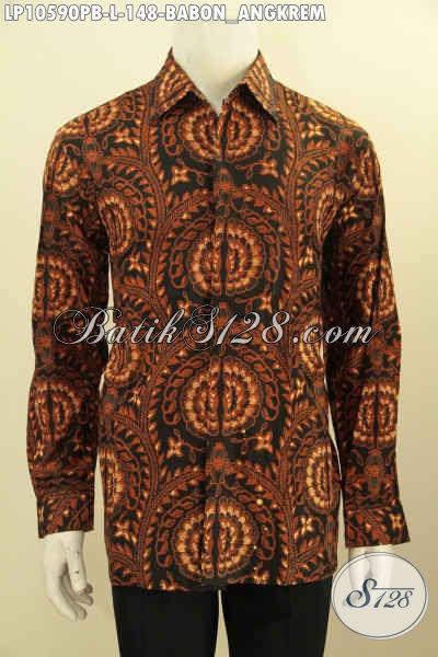 Jual Baju Batik Motif Babon Angkrem, Kemeja Batik Solo Lengan Panjang Halus Bahan Adem Printing Solo, Cocok Buat Acara Resmi, Size L