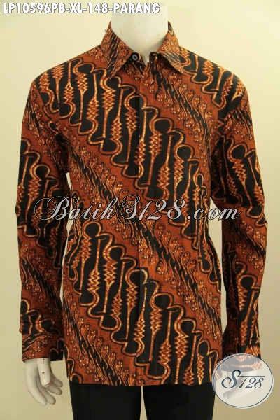 Kemeja Batik Elegan Motif Parang Klasik, Busan Batik Mewah Proses Printing Cabut Lengan Panjang Harga 148K, Size XL