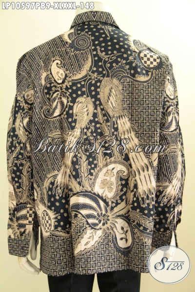 Batik Kemeja Lengan Panjang Pria Masa Kini, Hem Batik Solo Halus Berkelas Motif Klasik Proses Printing Cabut Hanya 100 Ribuan, Size XL – XXL