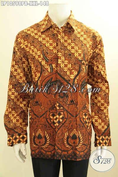 Busana Batik Lengan Panjang Kwalitas Bagus Motif Klasik Bahan Adem Proses Printing Cabut, Spesial Untuk Lelaki Gemuk, Size XXL