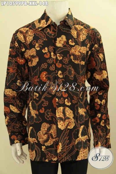 Produk Terbaru Kemeja Batik Pria Gemuk Motif Unik Dasar Hitam Elegan, Pakaian Batik Modis Dan Berkelas, Penampilan Lebih Tampan Dan Menawan [LP10599PB-XXL]