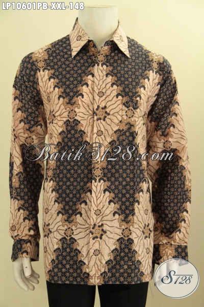 Produk Baju Batik Lengan Panjang Nan ELegan, Baju Batik Solo Halus Big Size XXL Motif Klasik Proses Printing Cabut, Penampilan Lebih Tampan Dan Gagah
