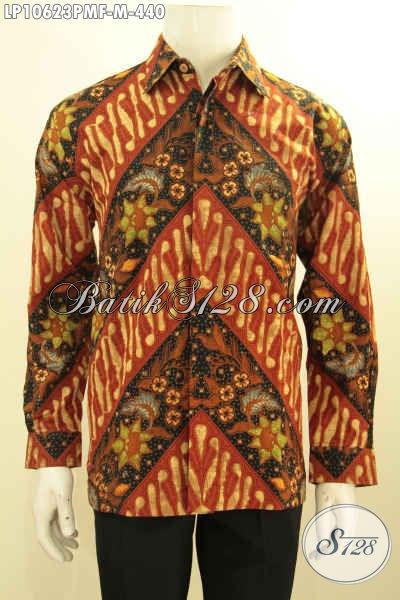 Model Baju Batik Pria Elegan Nan Berkelas, Hem Batik Halus Motif Klasik Kombinasi Tulis Lengan Panjang Full Furing, Pas Buat Rapat [LP10623PMF-M]