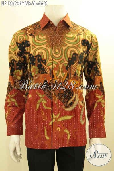Model Baju Batik Pria Lengan Panjang Solo Jawa Tengah, Kemeja Batik Istimewa Full Furing Berpadu Motif Klasik Kombinasi Tulis, Di Jual Online 440K, Size M
