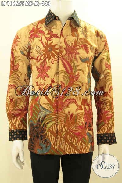 Sedia Baju Batik Lengan Panjang Istimewa, Kemeja Batik Solo Hallus Full Furing Motif Klasik Bahan Adem Proses Kombinasi Tulis, Penampilan Terlihat Berwibawa, Size M