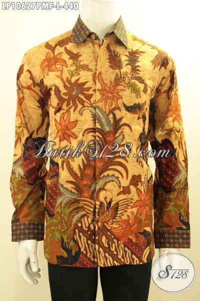 Kemeja Batik Solo Kwalitas Premium, Hem Lengan Panjang Batik Klasik Solo Full Furing Bahan Adem Proses Kombinasi Tulis Harg 440 Ribu, Size L