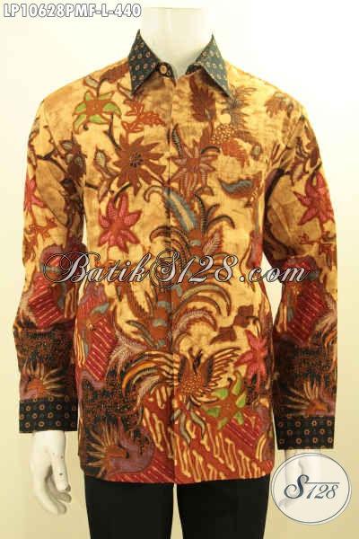 Busana Batik Solo Kwalitas Premium Lengan Panjang Motif Klasik, Pakaian Batik Mewah Dengan Lapisan Furing, Bikin Penampilan Gagah Sempurna, Size L