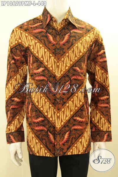 Model Baju Batik Pria Lengan Panjang Elegan Motif Klasik Cocok Buat Rapat, Hem Batik Kombinasi Tulis Full Furing Untuk Penampilan Gagah Berkelas, Size L