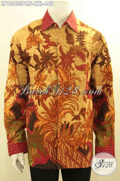 Pusat Baju Batik Online Khas Jawa Tengah, Baju Batik Solo Lengan Panjang Full Furing Big Size, Pria Gemuk Tampil Menawan, Size XXL