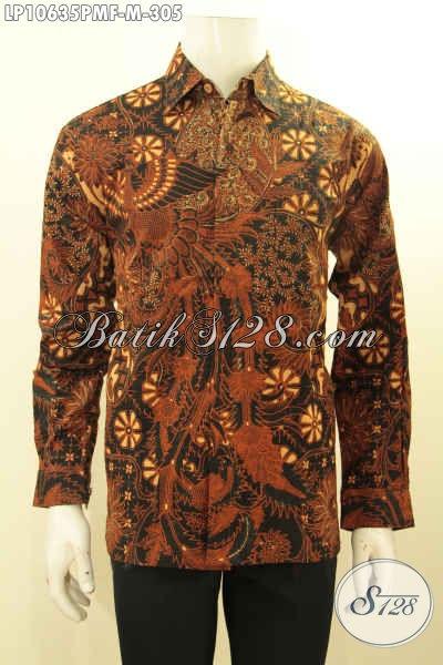 Jual Kemeja Batik Online , Hem Lengan Panjang Elegan Motif Klasik Kombinsi Tulis Daleman Lapisan Furing Bahan Adem Harga 305K, Size M