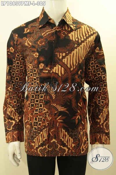 Hem Batik Pria Lengan Panjang Proses Kombinasi Tulis, Busana Batik Istimewa Full Furing Untuk Kerja Dan Kondangan, Size L