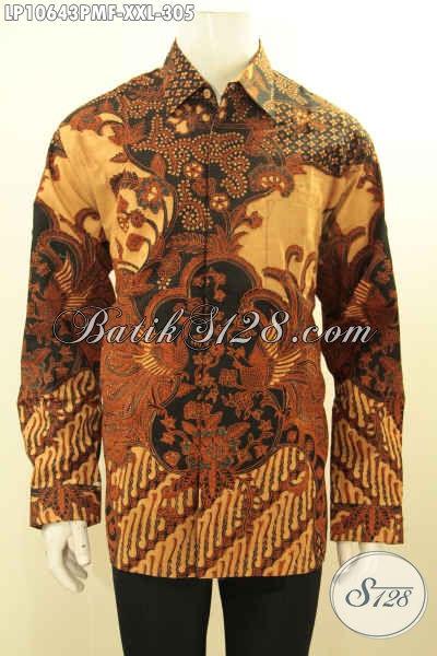 Jual Busana Batik Elegan Ukuran Jumbo, Hem Batik XXL Pria Gemuk Full Furing Lengan Panjang Motif Klasik Kombinasi Tulis, Tampil Gagah Berkelas