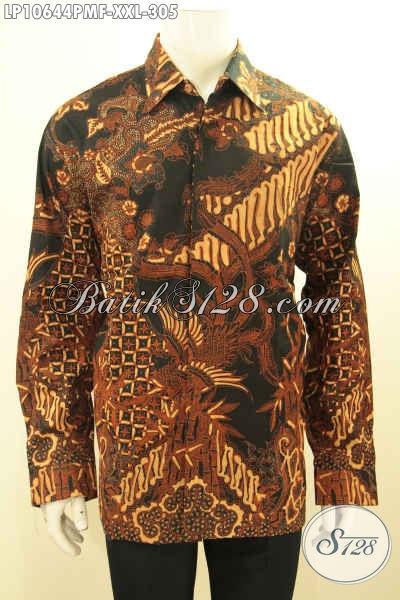 Batik Hem Solo Seragam Kerja Elegan Lengan Panjang Full Furing Motif Klasik Kombinasi Tulis, Tampil Gagah Berwibawa, Size XXL
