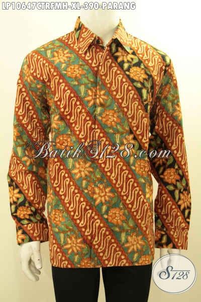 Batik Kemeja Lengan Panjang Motif Parang Bunga, Pakaian Batik Cap Tulis Mewah Pake Furing Bahan Adem Nyaman Di Pakai Harian [LP10647CTRFMH-XL]