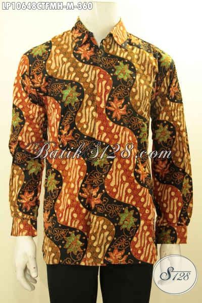 Busana Batik Kwalitas Premium Lengan Panjang Motif Mewah Proses Cap Tulis, Baju Batik Full Furing Untuk Pria Muda Terlihat Beda, Size M