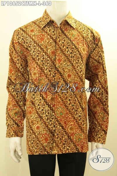 Baju Batik Solo Tren Motif 2018, Busana Batik Pria Lengan Panjang Full Furing Bahan Adem Motif Klasik Yang Bikin Lelaki Mempesona, Size L