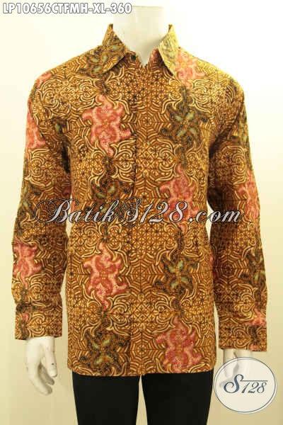 Model Baju Batik Kemeja Pria Elegan Motif Klasik, Pakaian Batik Solo Asli Lengan Panjang Full Furing Proses Cap Tulis Hanya 360K [LP10656CTFMH-XL]