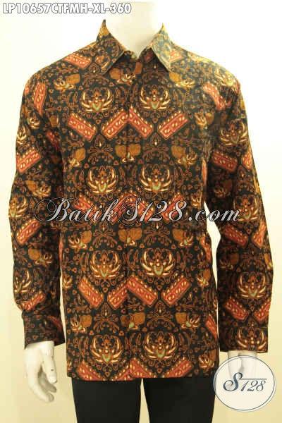 Batik Kemeja Lengan Panjang Proses Cap Tulis, Busana Batik Untuk Pria Menunjang Penampilan Lebih Gagah, Hadir Dengan Lapisan Furing Nyaman Untuk Kerja, Size XL