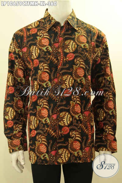 Pakaian Batik Solo Jawa Tengah Halus Motif Terbaru Tren 2018, Busana Batik Lengan Panjang Full Furing Yang Membuat Penampilan Lebih Berkelas, Size XL